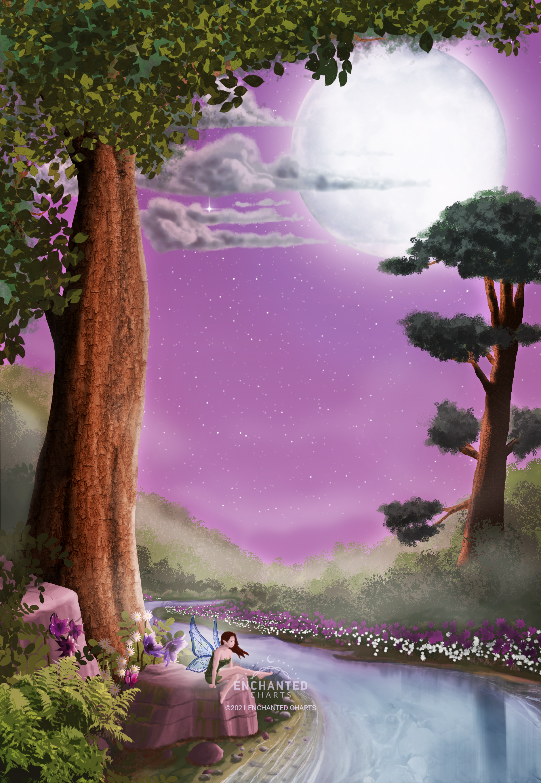 Fairy, River, Tree, Moon Wallpaper